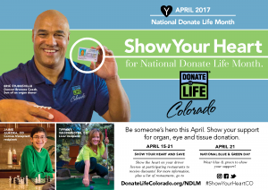 National Donate Life Month; Eric Studesville