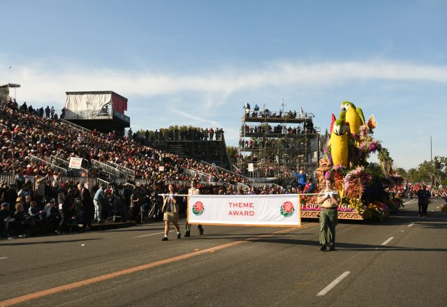 The 2018 Donate Life Rose Parade float rolls through Pasadena, CA